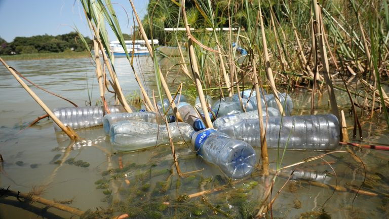 Plastic bottles along the Nile in Kenya