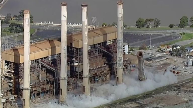 The towers of the former coal plant contain asbestos and the site will be monitored following the demolition