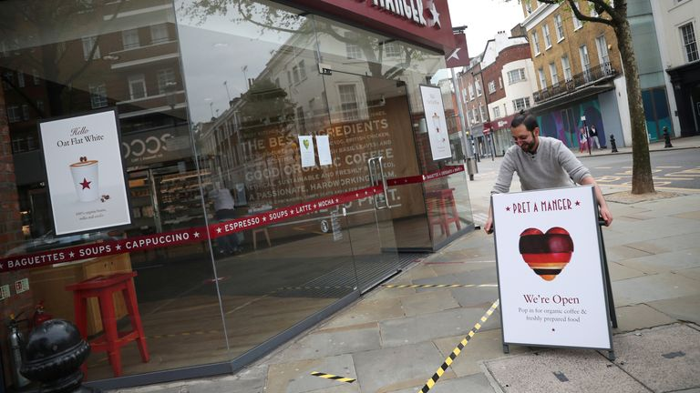 An open sign is seen outside of a Pret a Manger