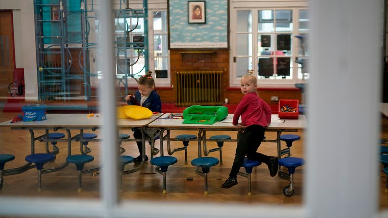 A classroom lays dormant at Oldfield Brow Primary School during the coronavirus lockdown on April 08, 2020 in Altrincham, England