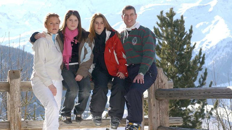 The Duke and his family pictured in Verbier in 2003