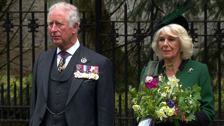 Duke and Duchess of Cornwall lead two minute silence to commemorate 75 years since VE Day