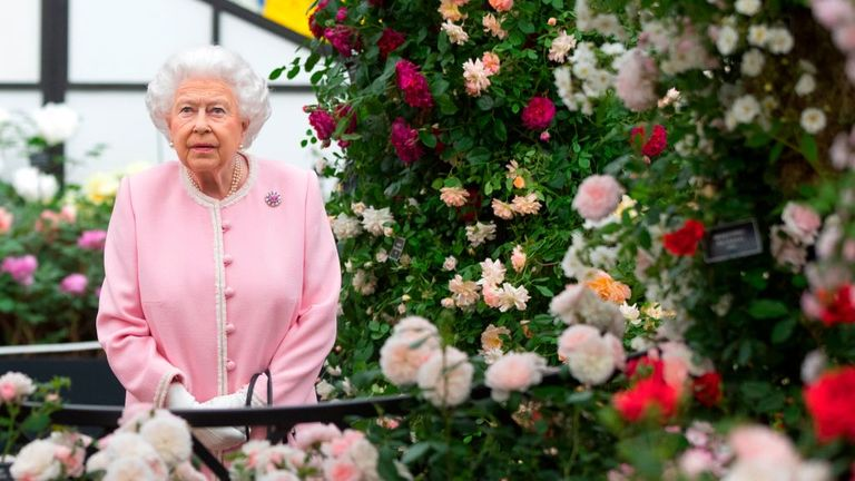 The Queen at the 2018 Chelsea Flower Show, enjoying the roses