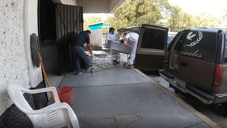 Another coffin arrives at a crematorium in Mexico City