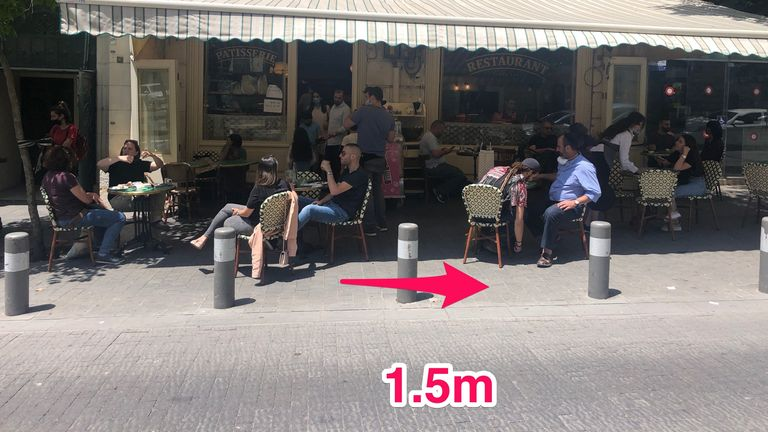 A distance of 1.5m must be placed between tables