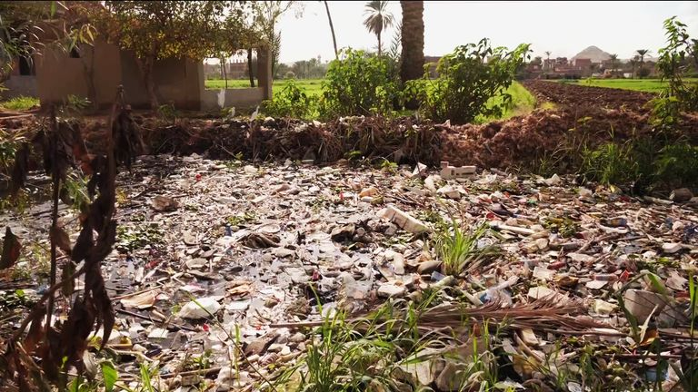 Canals and inlets to the Nile are choked with plastic debris