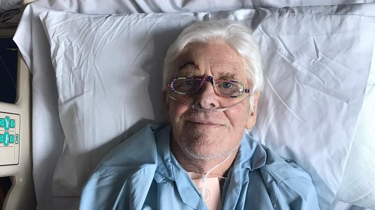 The explorer recovering in hospital after being unconscious for five weeks. Pic: Merlin Hanbury-Tenison