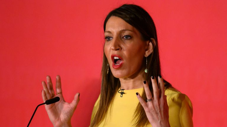CARDIFF, WALES - FEBRUARY 02: Rosena Allin-Khan speaks at the Labour Leadership Hustings at Cardiff City Hall on February 2, 2020 in Cardiff, Wales. Rosena Allin-Khan, MP for Tooting, is standing as a candidate in the Labour Party deputy leadership election. (Photo by Matthew Horwood/Getty Images)