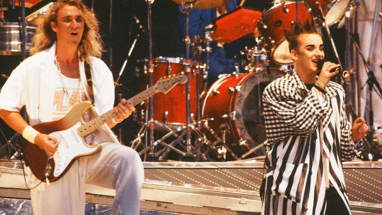 Roy Hay and Boy George of Culture Club on stage at Yokohama Stadium, Yokohama, Japan, 10 August 1985. Pic: Gutchie Kojima/Shinko Music/Getty Images