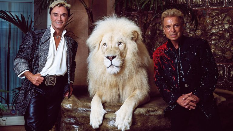 Horn and Fischbacher in their private apartment at the Mirage Hotel on the Vegas Strip, with one of their performing white lions in 2011