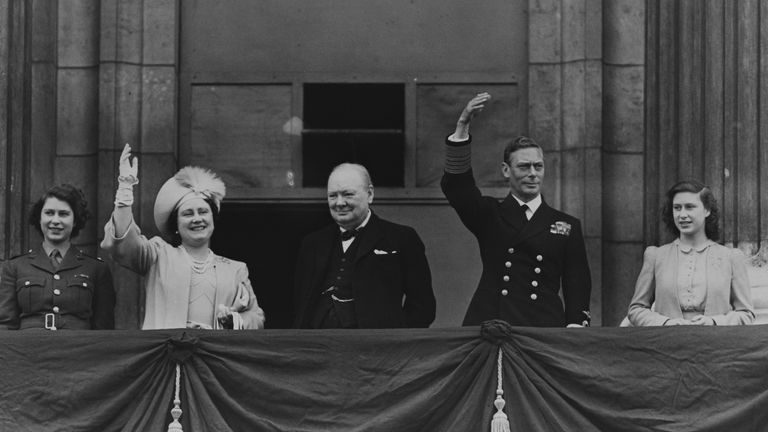 Princess Elizabeth joins her family and Winston Churchill during VE Day celebrations