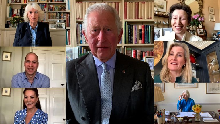 Members of the royal family on video calls to nurses around the world