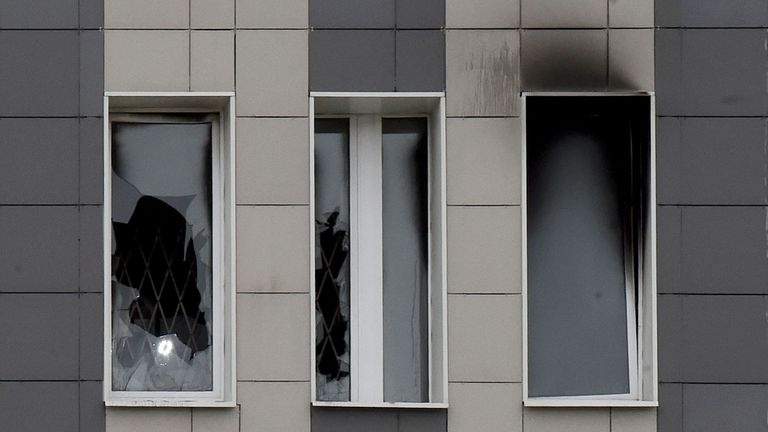 Damaged windows are seen after a fire broke out in the Saint George hospital in Saint Petersburg on May 12, 2020. - A fire at a hospital in Russia's second city Saint Petersburg on May 12 killed five coronavirus patients who had been attached to ventilators, officials and news agencies said. (Photo by OLGA MALTSEVA / AFP) (Photo by OLGA MALTSEVA/AFP via Getty Images)