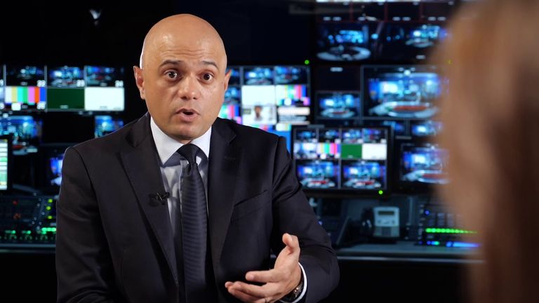 Sajid Javid speaks to Sky's Beth Rigby