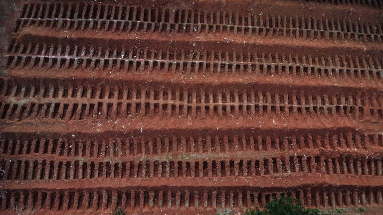 Aerial view of dug graves at the Vila Formosa Cemetery on the outskirts of Sao Paulo, Brazil