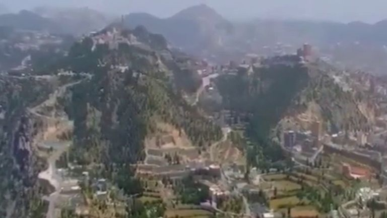 Aerial footage shows the Sarawat Mountains in Saudi Arabia