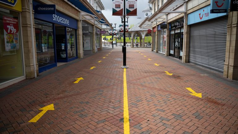 Social distancing measures at Castle Court shopping centre in Caerphilly in May
