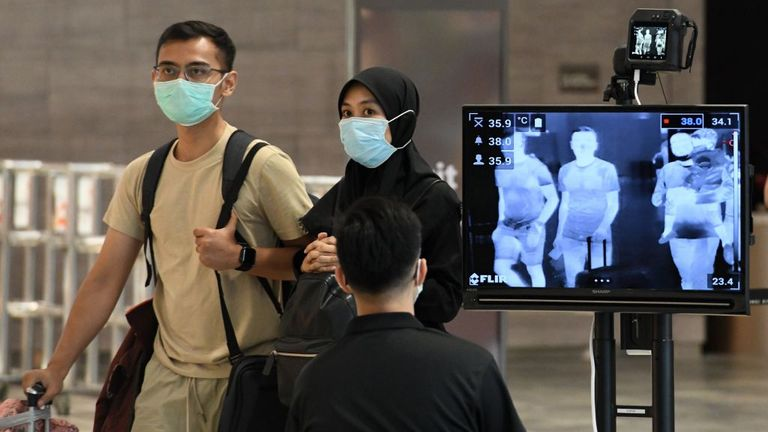 Temperature scanning in place at Singapore's Changi Airport