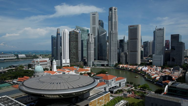 Singapore's Supreme Court building against the backdrop of the central business district
