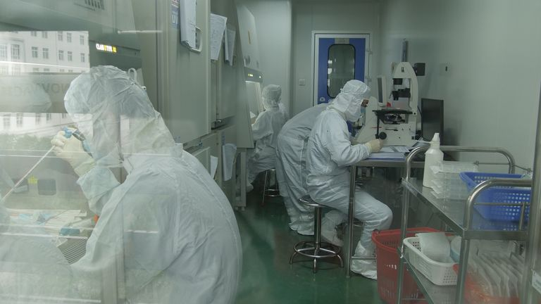 Staff at Beijing-based biotech company Sinovac, where work is taking place to create a coronavirus vaccine
