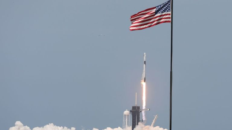 A SpaceX Falcon 9 rocket carrying the Crew Dragon spacecraft lifts off from launch complex 39A at the Kennedy Space Center in Florida on May 30, 2020. - NASA astronauts Hurley and Bob Behnken are set to depart for an extended stay at the International Space Station on the SpaceX Demo-2 mission. (Photo by Gregg Newton / AFP) (Photo by GREGG NEWTON/AFP via Getty Images)