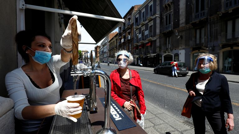 Bars have tentatively reopened in Italy