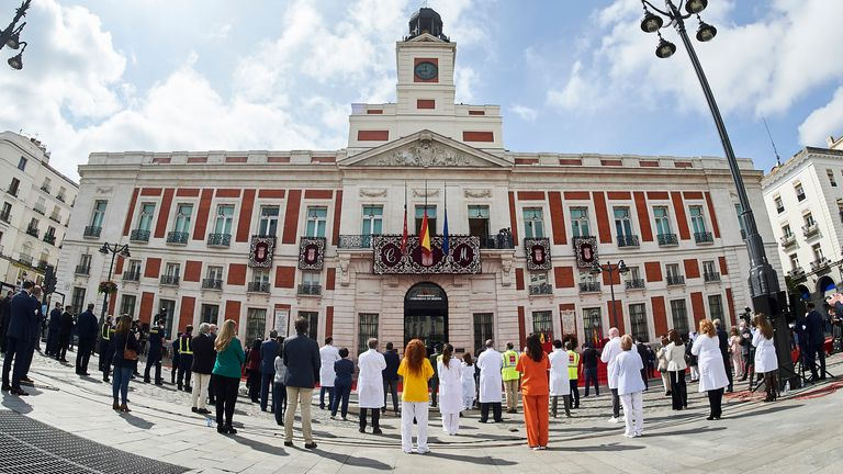 In Madrid, an easing of lockdown restrictions allowed people to celebrate the city's 2 May holiday but social distancing remained