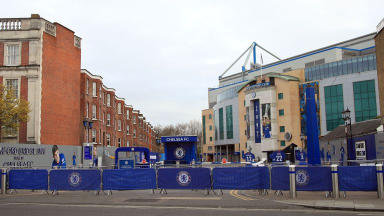 A barricaded Stamford Bridge in London