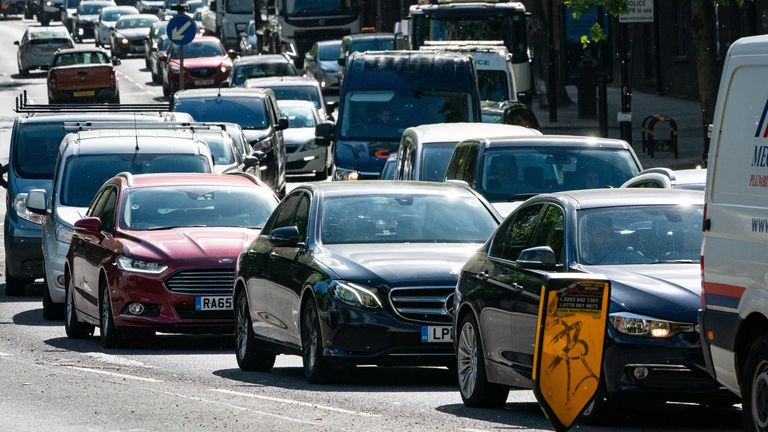 Traffic on the A1203 in London on Monday morning following the PM's announcement