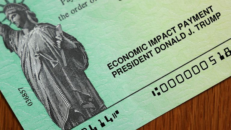 U.S. President Donald Trump's name appears on the coronavirus economic assistance cheques that were sent to citizens across the country April 29, 2020 in Washington, DC