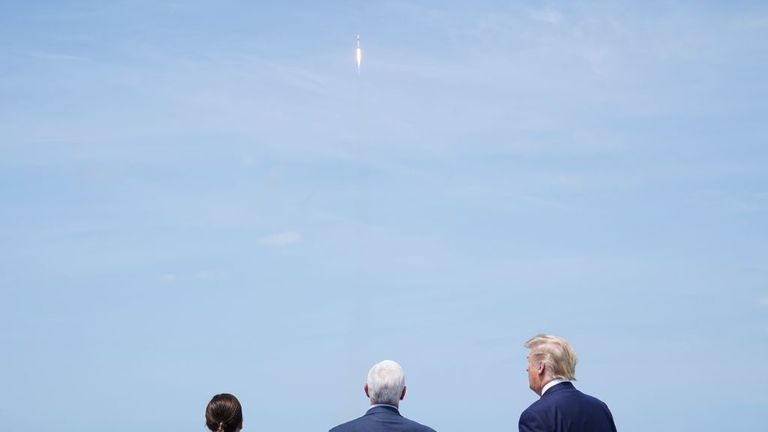 (L-R) Karen Pence, US Vice President Mike Pence and US President Donald Trump watch the SpaceX launch at the Kennedy Space Center in Florida on May 30, 2020. - Trump traveled to Kennedy Space Center in Florida to watch the launch of the manned SpaceX Demo-2 mission to the International Space Station. (Photo by MANDEL NGAN / AFP) (Photo by MANDEL NGAN/AFP via Getty Images)