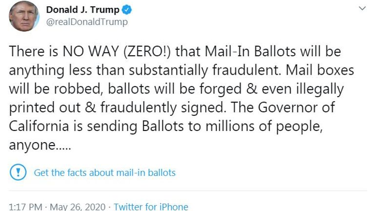 Donald Trump's tweet about postal voting was given a fact-check warning by Twitter