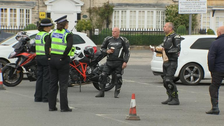 Bikers speaking to police in Helmsley