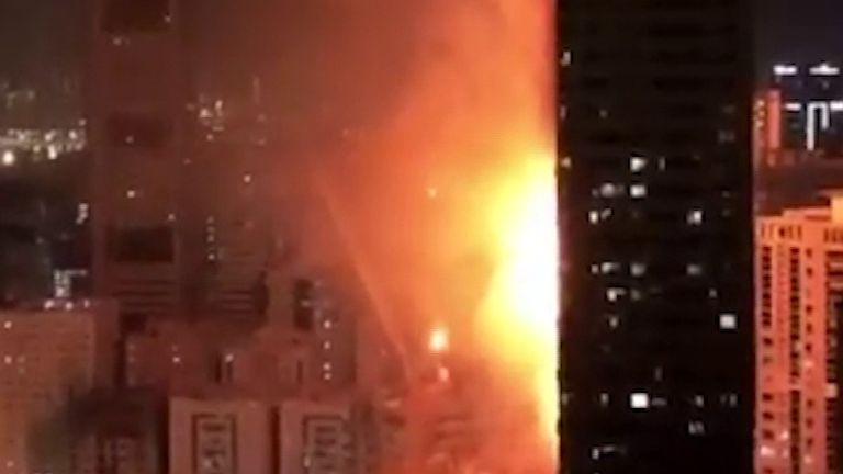 Inferno rages in skyscraper in UAE