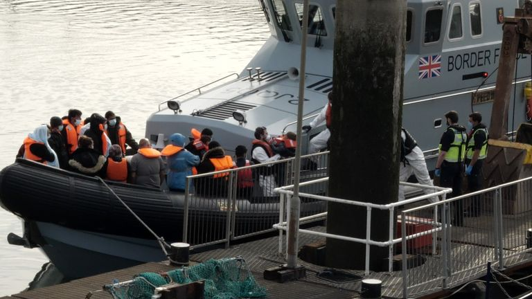 The migrants were taken into harbour