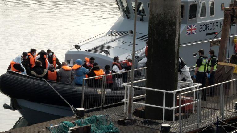 The migrants were taken into harbour