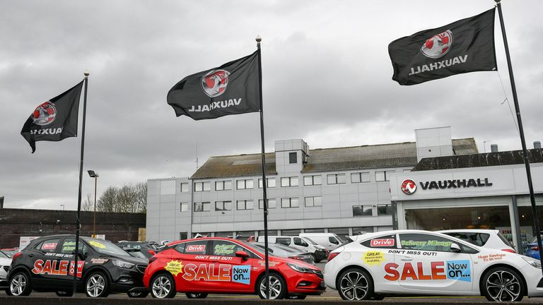 A general view of a Vauxhall dealership forecourt 17/4/2018