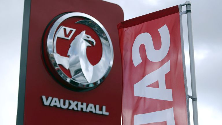 A general view of the Vauxhall sign in Luton Monday March 6, 2017