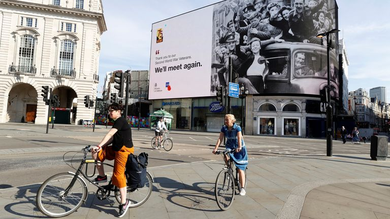The big screen in Piccadilly Circus displays a message of thanks to Second World War Veterans on the 75th Anniversary