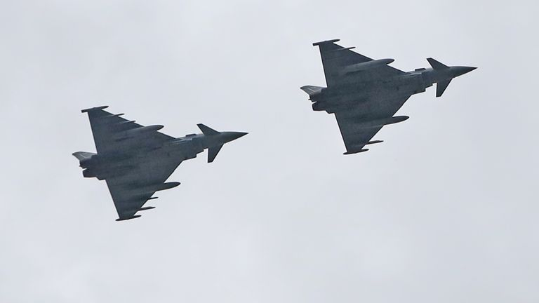 Two RAF Typhoons perform a flypast over The Titanic slipway in Belfast, to thank Second World War Veterans and to mark the 75th anniversary of VE Day. PA Photo. Picture date: Friday May 8, 2020. See PA story MEMORIAL VE. Photo credit should read: Niall Carson/PA Wire