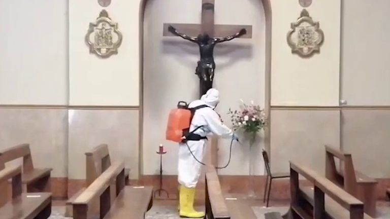 Church interior is disinfected in Verona