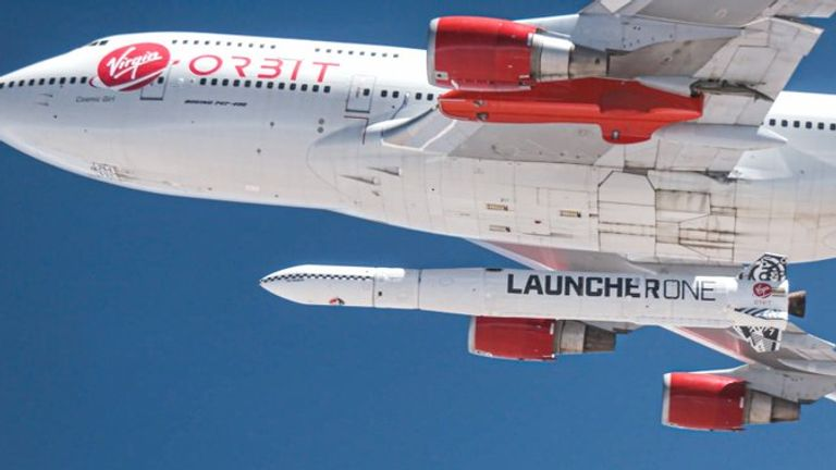 The LauncherOne rocket was dropped from beneath the plane's left wing. Pic: Virgin Orbit
