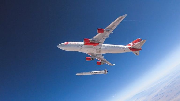 The rocket released successfully but the mission had to then be aborted. Pic: Virgin Orbit