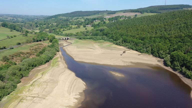 Low water levels at the Lindley Wood Reservoir near Otley, West Yorkshire