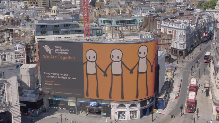 STIK's art has been unveiled at Piccadilly Lights