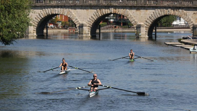 Rowers on the river Thames near Maidenhead enjoying the good weather