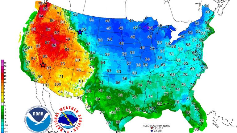 A map from the National Weather Service shows the stark contrast in temperatures between the East Coast and West Coast