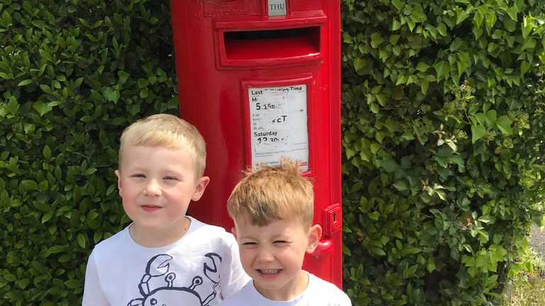 Jacob, five, and Sebastian, four, have been visiting the post boxes on their walks