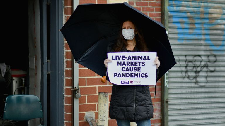 Activitists protest against live-animal markets