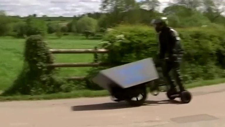 A motorised wheelbarrow... yes, that is what you are looking at!